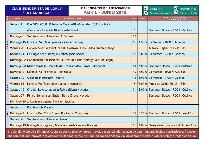 CALENDARIO ABRIL-JUNIO'18